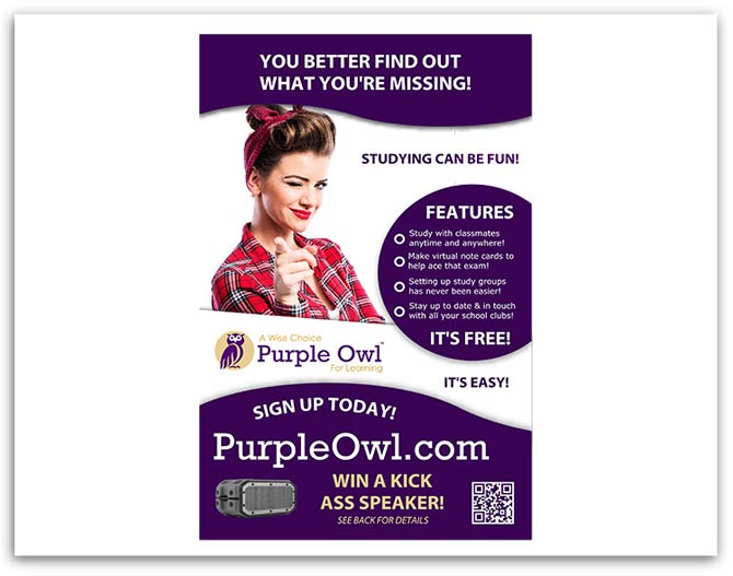Purple Owl flyer