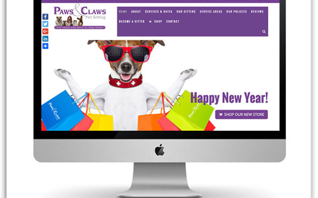 Paws and Claws Pet Sitting website