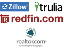 Real Estate logos: Zillow, Trulia, Redfin, Realtor.com